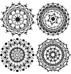 A set of mandalas and lace decorations vector image