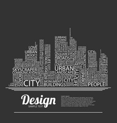 Abstract buildings made from words vector
