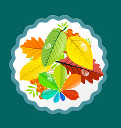 autumn leaves design flat retro colorful vector image vector image