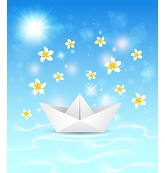 background with paper boat and flowers vector image vector image