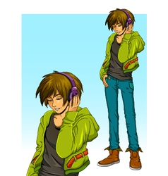 boy with headphones vector image vector image