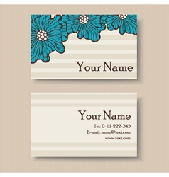 Business card with big blue flowers vector