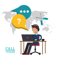 Call center man desk work talk vector