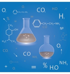 chemical flasks vector image vector image