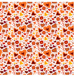 Children seamless pattern with hearts and flowers vector
