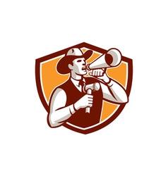 Cowboy auctioneer bullhorn gavel shield vector
