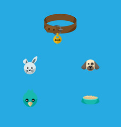 flat icon animal set of bunny hound necklace vector image vector image