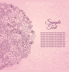Floral card rose colored sample text vector