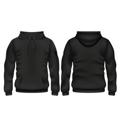 front and back black hoodie template vector image