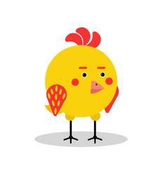 Funny chicken bird character in geometric shape vector