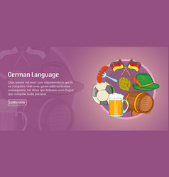 German language banner horizontal cartoon style vector