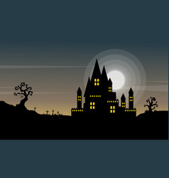 Halloween background with castle at night vector