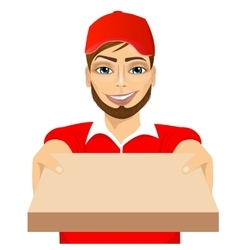 Happy young pizza delivery guy vector