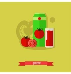 Juice carton glass tomato vector