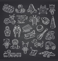kid toys set hand drawn vector image vector image