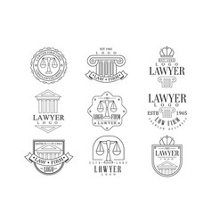 Law firm and lawyer office logo templates with vector
