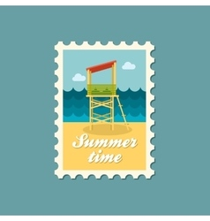 Lifeguard tower flat stamp vector