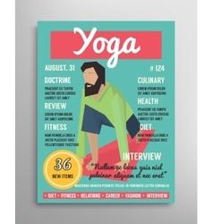 Magazine cover template yoga blogging layer vector