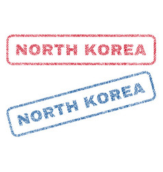 North korea textile stamps vector