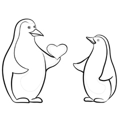 penguins with valentine heart contours vector image