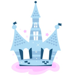 Princess sky castle isolated on white - blue vector