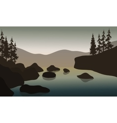 Rock in river with gray backgrounds vector