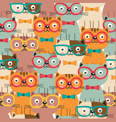 seamless pattern with colorful cats in glasses vector image vector image