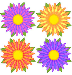 Set of blue red yellow purple striped flowers vector