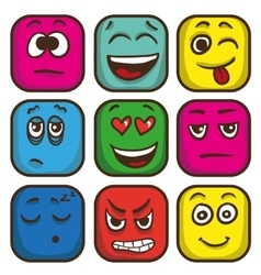 Set of colorful emoticons square emoji flat vector image vector image