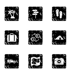 Travel to sea icons set grunge style vector