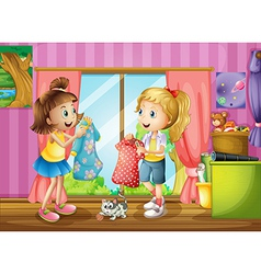 Two girls talking about their dresses vector