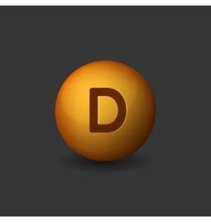 Vitamin d orange glossy sphere icon on dark vector