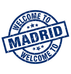 Welcome to madrid blue stamp vector
