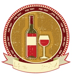 Red wine bottle labelvintagel background on old vector