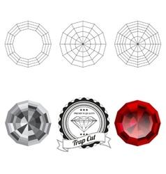 Set of trap cut jewel views vector image