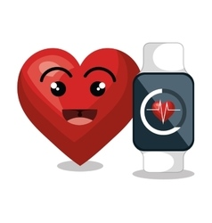 Cartoon heart smart watch pulse monitoring vector