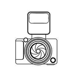 Monochrome contour of analog camera with flash vector