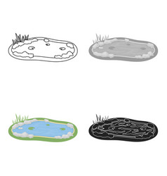 pond icon in cartoon style isolated on white vector image