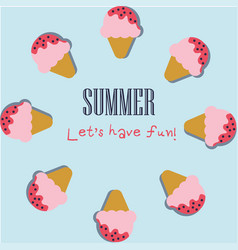 Summer holiday background with cute ice cream vector