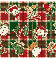 Funny christmas elements with tartan background vector