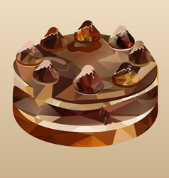 Chocolate cake polygon vector
