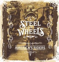 steel on wheels vector image