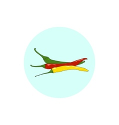 Icon red green and yellow hot chili pepper vector image