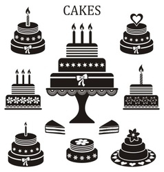 Birthday and wedding cakes vector