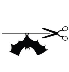 scissors with bat vector image