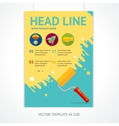 Placard poster template with rollerbrush vector