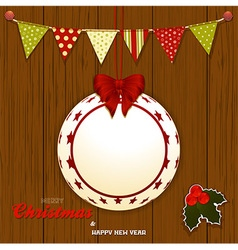 Christmas wood background with bunting and bauble vector