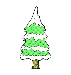 Comic cartoon snowy tree vector