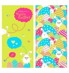 Greeting card with bunnies and easter eggs vector