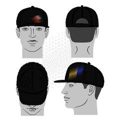 baseball tennis rap cap and man head vector image vector image